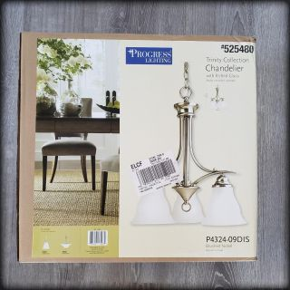 New in Box - Brushed Nickel Chandelier - Porch Pickup