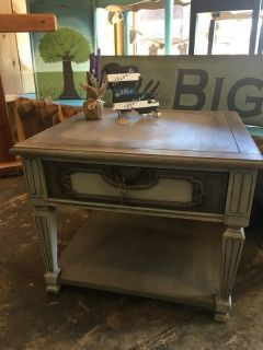 Gray side table with drawer, heavy