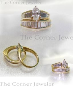 14K Yellow Gold, Marquise and Baguette Diamond Ring Set Size 4.75