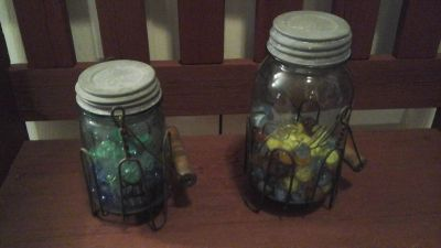 Vintage and Antique Mason Jars Filled With Marbles/Buttons/Vintage Clothes Pins....