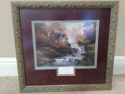 Cobblestone Mill Thomas Kinkade Framed and Matted