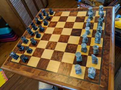 Beautiful wood and marble chess set