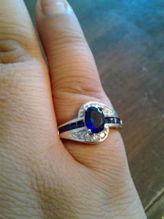 New blue CZ halo ring 925 Sterling silver (6)