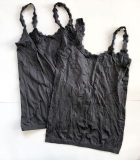 Womens New York & Co Fitted Charcoal Gray Lace Trimmed Camis - Sz L/XL