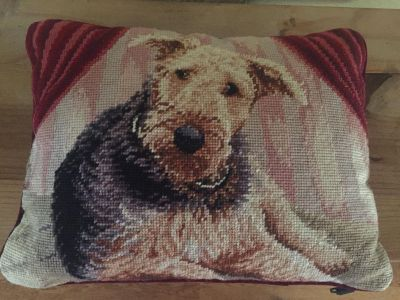 Airedale Lovers Sweet Reminder Of of a Loving Friend Cross Stitched and Velvet Back 10 x14