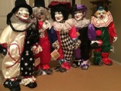 Porcelain Circus Parade Clowns Collection 1991- 17 Tall-each comes with stands $24 each