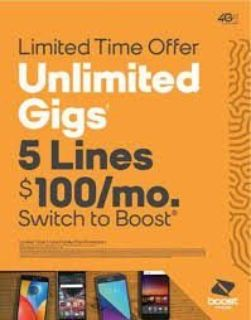 Lines 5 FREE Phones $500 ( Boost Mobile ) All Active with Service!