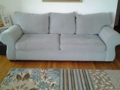 couch, very pale blueish/green color, great condition. 6ft...(8ft including arm rests)