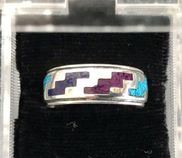 Collectible Vintage CAROLYN POLLACK Sterling Silver Inlay Turquoise, Sugilite & Lapis