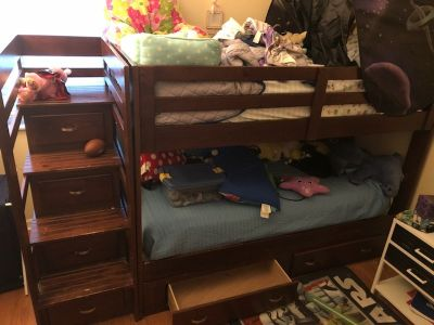 Solid Wood Twin Bunk Bed with 6 drawers
