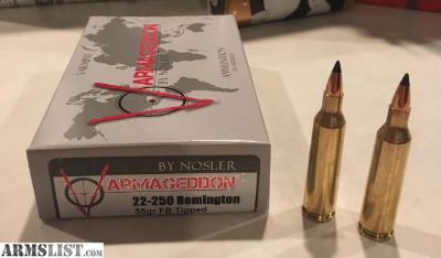 For Sale: 22-250 Varmageddon 55gr FB tipped Ammo