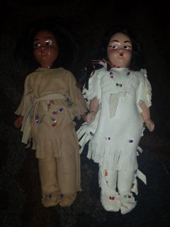 Vintage 1950's Native American souvenir hard plastic doll pair