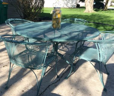 Wrought iron outdoor patio set table 4 chairs