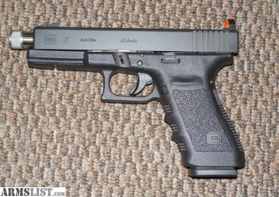 For Sale: GLOCK MODEL 21SF CUSTOMIZED WITH THREADEDBARREL AND SNAKE-EYES NIGHT SIGHTS SIGHTS