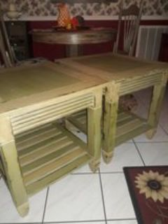 Pair of end tables or night stands rustic shabby chic all wood