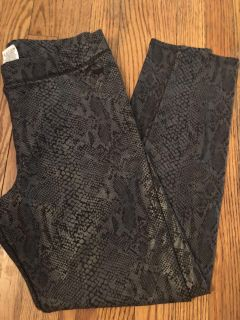 VS Pink silky/stretchy snakeskin print grey leggings... Worn a couple times... Like new!!! Size L