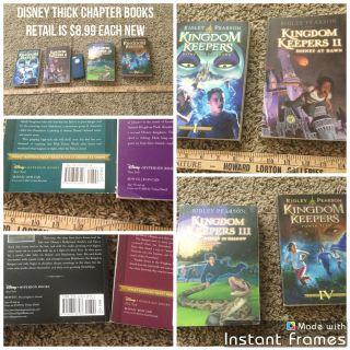 Set of 4 Disney Kingdom Keepers books 1-4 thick chapter books about Disney Parks after dark. Retail $8.99 each, asking $8.00 for all.