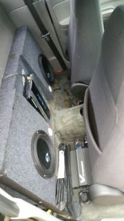 Truck sub woofers box set up with amplifier