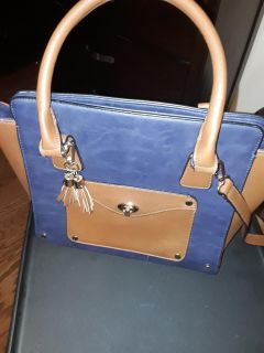 Navy blue and Tan purse