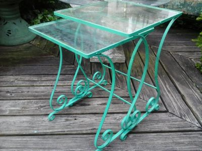 Vintage pair iron and glass green tables patio