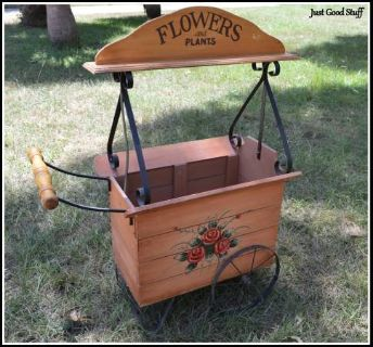 ADORABLE WOOD FLOWER CART