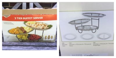 3 Tier Buffet Server, never used but box has been opened, contents in perfect shape