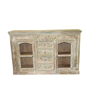1920s Vintage Style Chest Buffet Ivory Green Carved Brass Inlay Sideboard