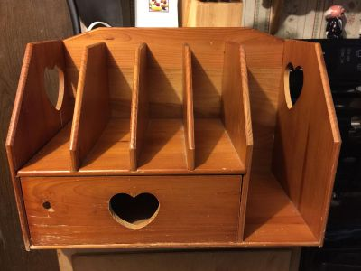 Letter organizer with drawer.