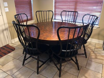 Copper top table with 6 chairs