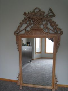 Vintage Ethan Allen Carved Maple Mirror Made In Italy