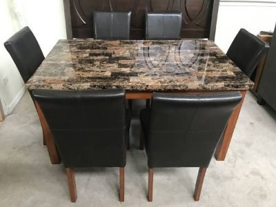 7 pc Faux Granite Leather Dining Table Set