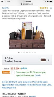 Rustic Wood Desk Organizer