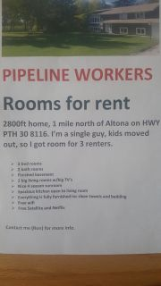 PIPELINE WORKERS - Rooms for rent