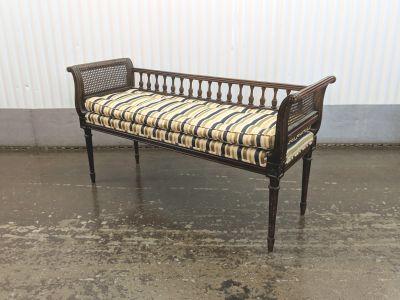 Vintage Louis XVI Dark Walnut & Cane Bench
