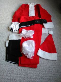 Size Large Santa Suit w/ Glasses, Gloves, Belt, Shoe Coverings Very Good Condition