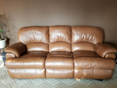 Leather, reclining couch, love seat and chair