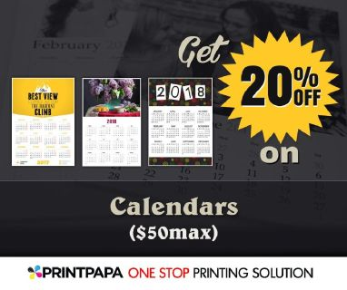 PrintPapa brings you the beautiful calendars on 20% discount (max $50).