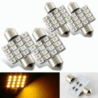 Purchase 4x 34mm 16 SMD Amber LED Panel Interior Replacement Dome Light Lamp Festoon Bulb motorcycle in Walnut, California, United States