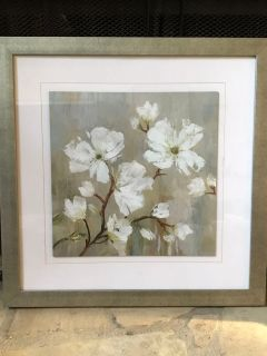 All glass wall decor with painted white flowers