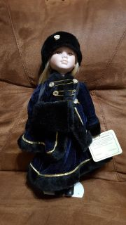 """16 1/2"""" Porcelain Doll with Stand"""
