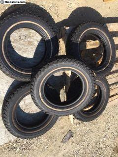 NOS stock set of 5 Gillette 155-R15 Tires