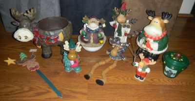 Country Christmas Moose Decorations Lot Cookie Jar Bowl Pot Shelf Sitter Prim