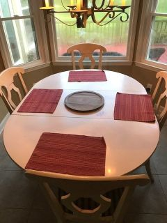 """CANADIAN HARDWOOD TABLE WITH 18"""" REMOVABLE CENTER LEAF AND FOUR CHAIRS"""