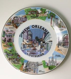 New Orleans Louisiana French Quarter Bourbon Street Collector Plate 10 1/4""