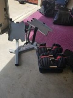 Bowflex weight set with weight stand