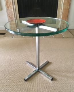 Vintage Mid Century Chrome & Glass Side Table