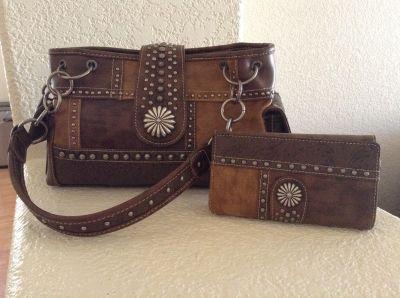 Montana West Concho Purse & Wallet Set