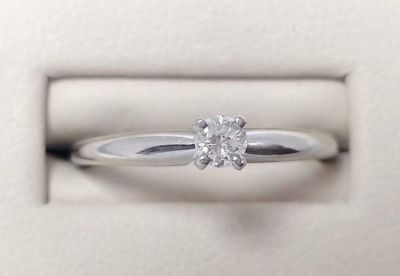 14k white gold round diamond 3mm solitaire size 6.5