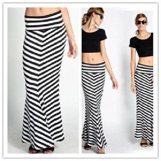 Yasurs? High Waisted Mermaid Chevron Striped Maxi Skirt