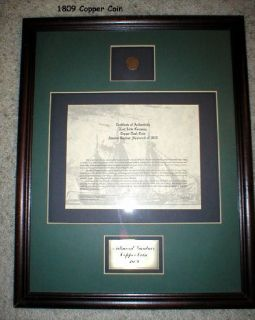 Copper Coin - 1809 - Framed - with Certificate of Authenticity
